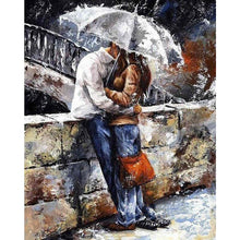DIY Paint by Number kit for Adults on Canvas-Romance in the Rain-30x40cm (12x16inces)