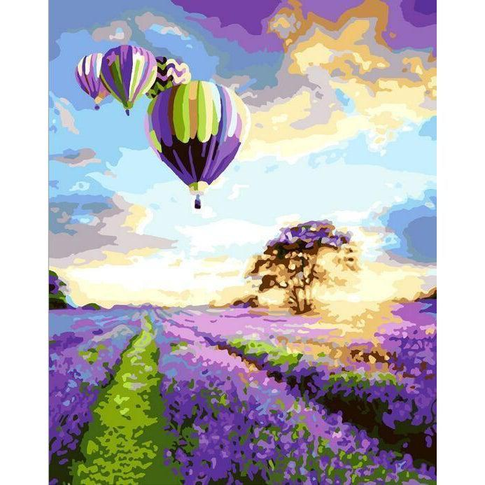 DIY Paint by Number kit for Adults on Canvas-Romantic Hot Air Balloon Ride-40x50cm (16x20inches)