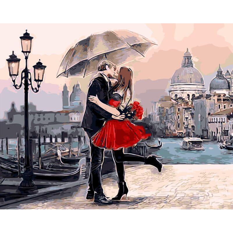 DIY Paint by Number kit for Adults on Canvas-Romantic Kiss in Venice-40x50cm (16x20inches)