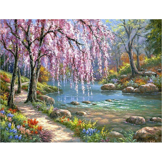 DIY Paint by Number kit for Adults on Canvas-Romantic Tranquil Stream-40x50cm (16x20inches)