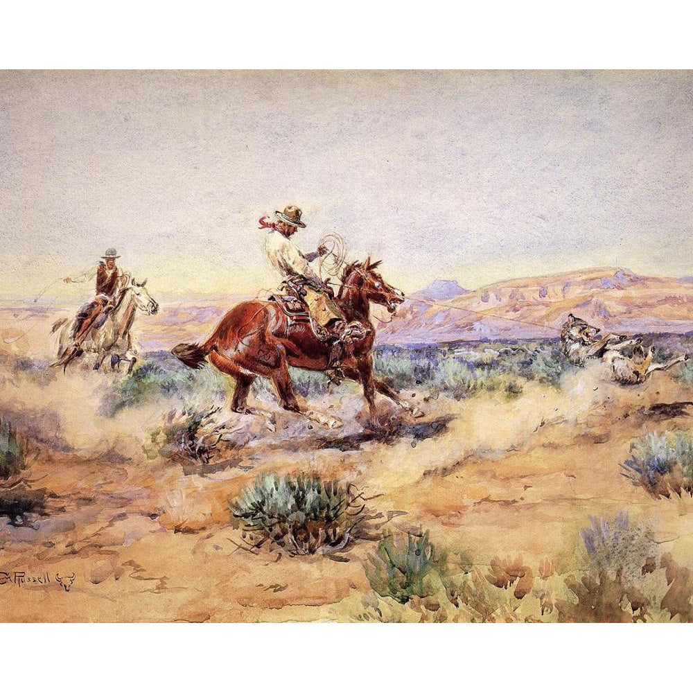 DIY Paint by Number kit for Adults on Canvas-Roping a Wolfe - Charles Marion Russell - 1918-Home