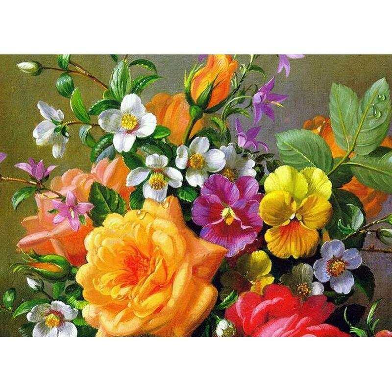 DIY Paint by Number kit for Adults on Canvas-Roses and Pansies-40x50cm (16x20inches)