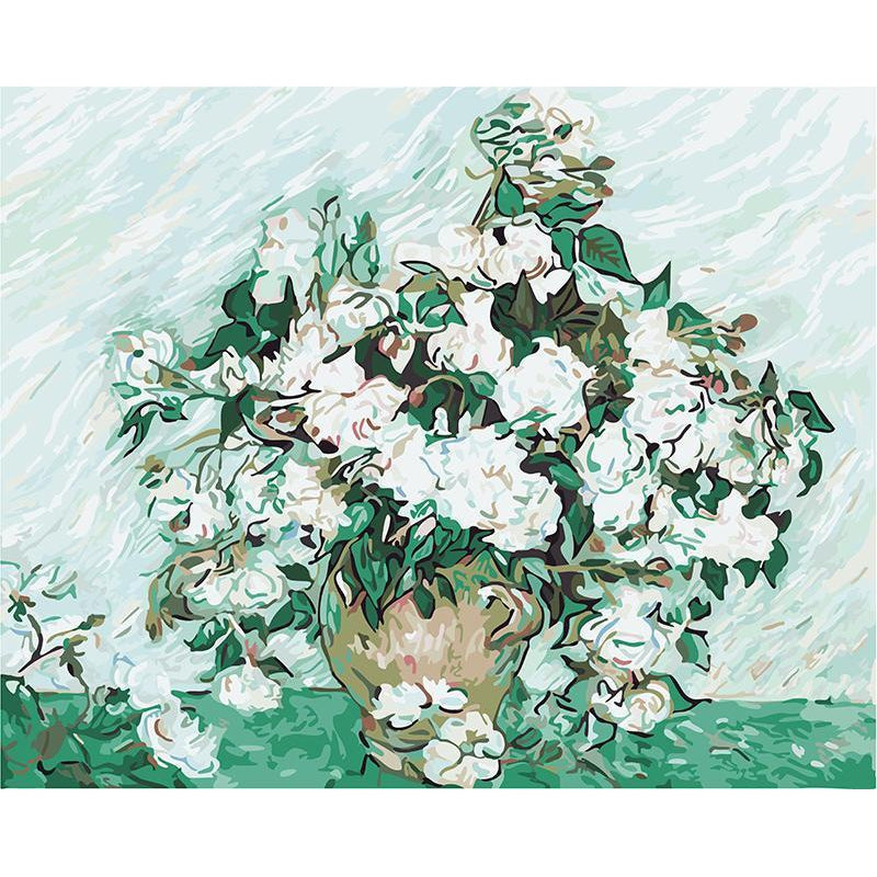 DIY Paint by Number kit for Adults on Canvas-Roses - Van Gogh-Clean PBN