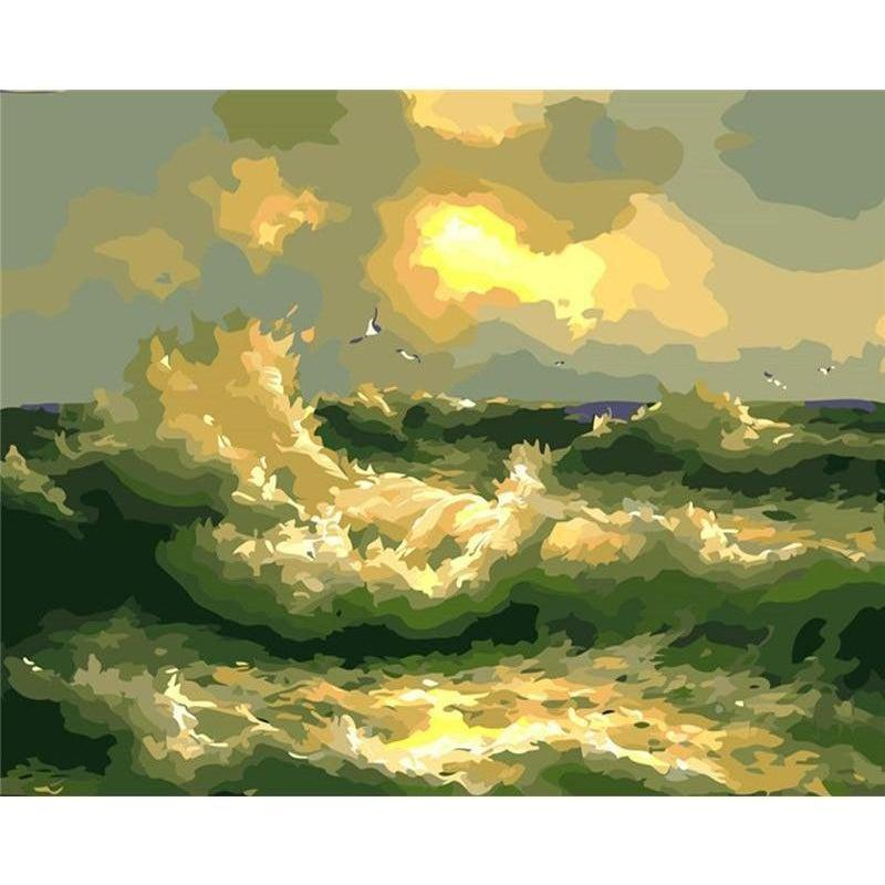 DIY Paint by Number kit for Adults on Canvas-Rough Water-40x50cm (16x20inches)