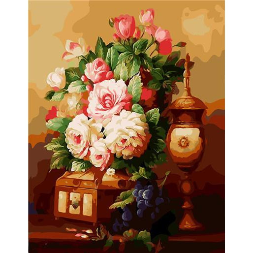 DIY Paint by Number kit for Adults on Canvas-Royal Flower Bouquet-40x50cm (16x20inches)