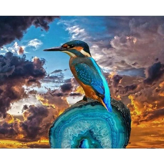 DIY Paint by Number kit for Adults on Canvas-Royal Kingfisher-Painting & Calligraphy