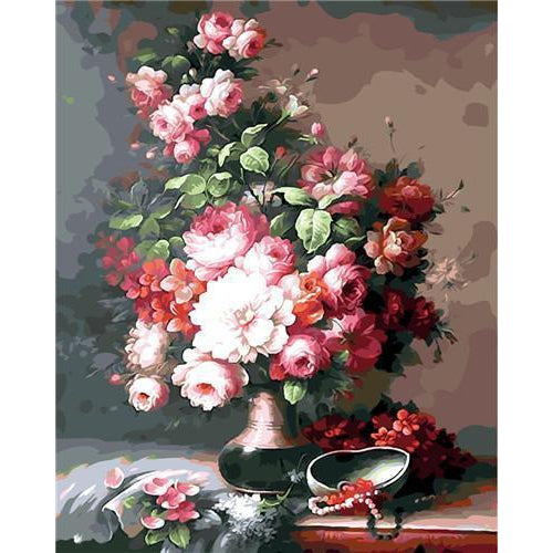 DIY Paint by Number kit for Adults on Canvas-Ruby Roses-Clean PBN