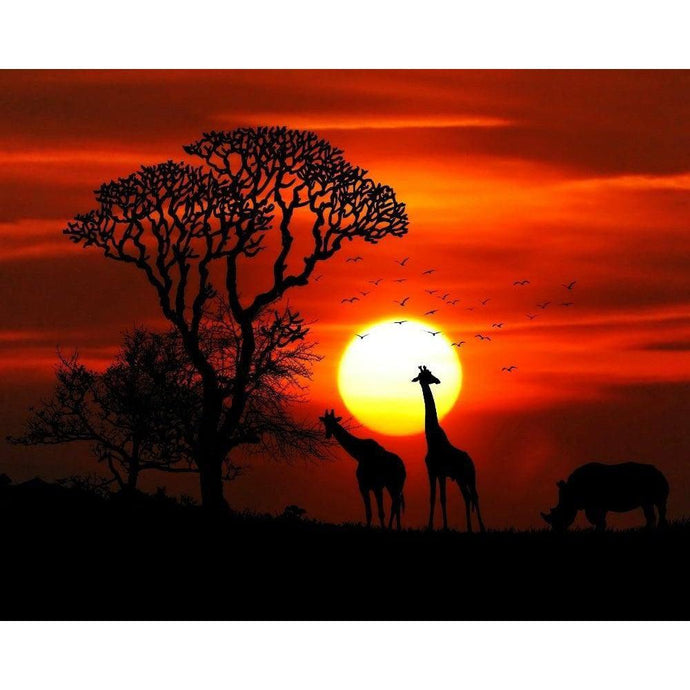 DIY Paint by Number kit for Adults on Canvas-Safari Sunset-