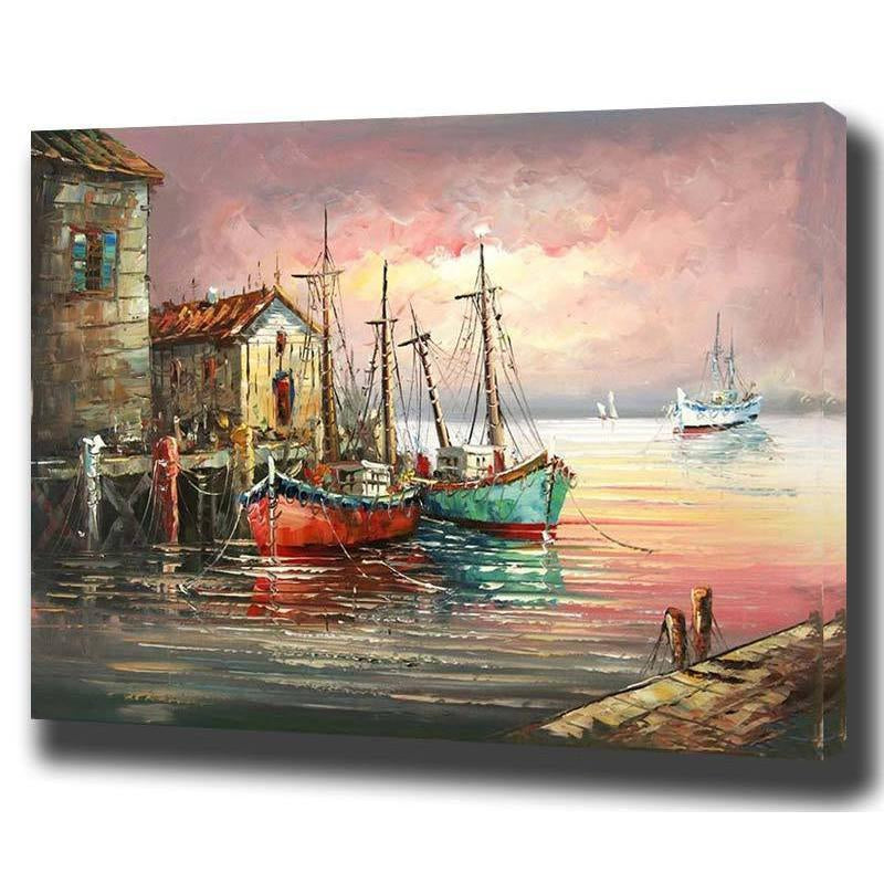 DIY Paint by Number kit for Adults on Canvas-Sailboat Marina-40x50cm (16x20inches)