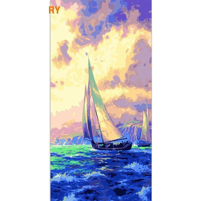 DIY Paint by Number kit for Adults on Canvas-Sailboat Voyage [EXTRA Large Print]-40x80cm (16x32inches)
