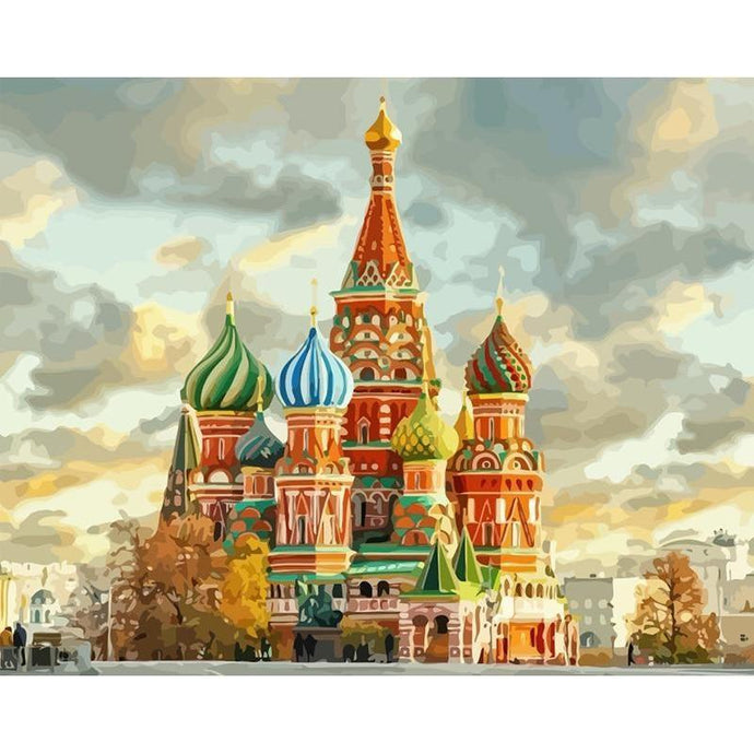 DIY Paint by Number kit for Adults on Canvas-Saint Basil's Cathedral-40x50cm (16x20inches)