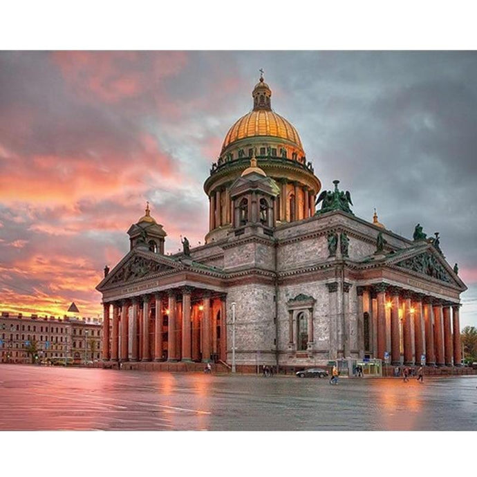 DIY Paint by Number kit for Adults on Canvas-Saint Isaac's Cathedral Saint Petersburg-40x50cm (16x20inches)