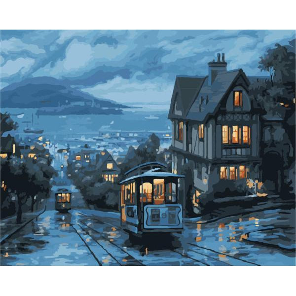 DIY Paint by Number kit for Adults on Canvas-San Francisco At Sundown-40x50cm (16x20inches)