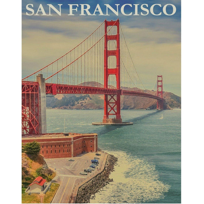 DIY Paint by Number kit for Adults on Canvas-San Francisco Golden Gate Bridge-Clean PBN