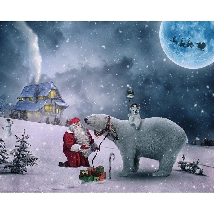 DIY Paint by Number kit for Adults on Canvas-Santa and his Polar Bears-Paint By Number