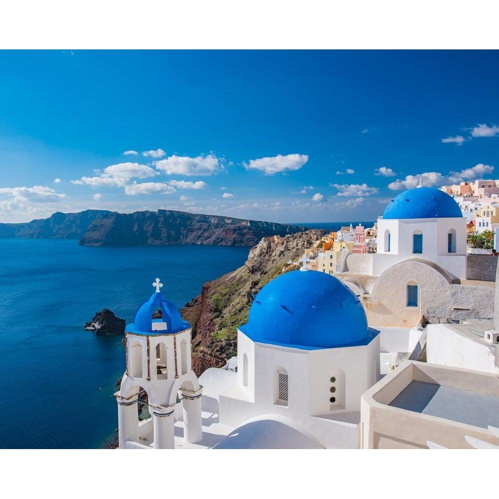 DIY Paint by Number kit for Adults on Canvas-Santorini Greece-Paint By Number