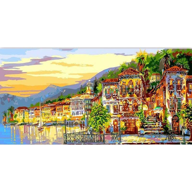 DIY Paint by Number kit for Adults on Canvas-Seaside Town at Dusk [EXTRA Large Print]-40x80cm (16x32inches)