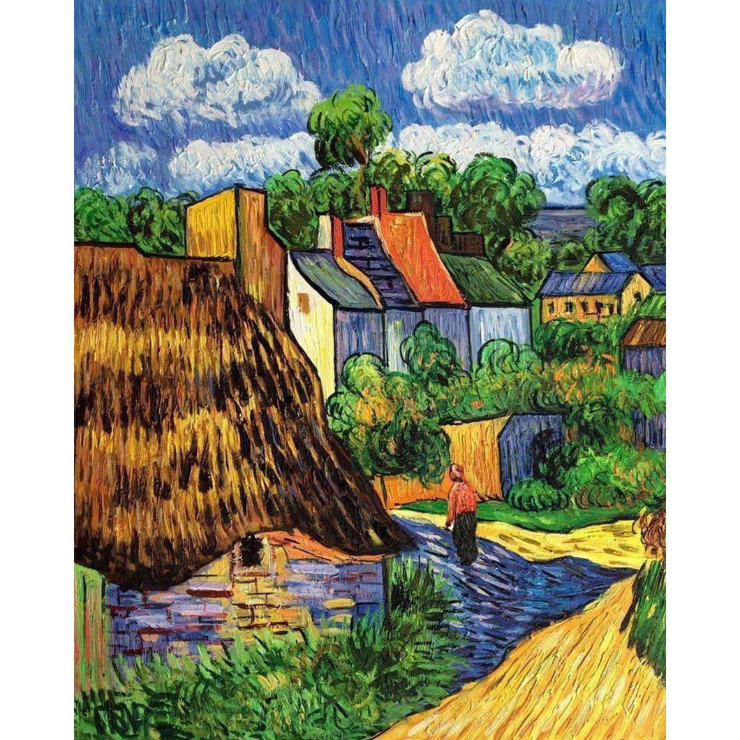 DIY Paint by Number kit for Adults on Canvas-[Ships from USA] Houses in Auvers - Van Gogh - 1890-Clean PBN