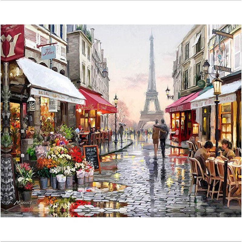 DIY Paint by Number kit for Adults on Canvas-[Ships from USA] Paris Street After the Fresh Rain-Paint by Numbers Kits