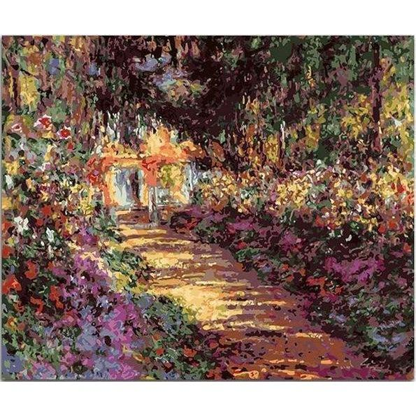 DIY Paint by Number kit for Adults on Canvas-[Ships from USA] Pathway in Monet's Garden at Giverny - Claude Monet-Clean PBN
