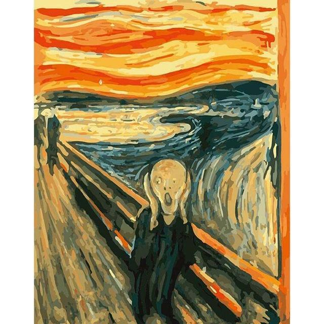 DIY Paint by Number kit for Adults on Canvas-[Ships from USA] The Scream - Edvard Munch-Clean PBN
