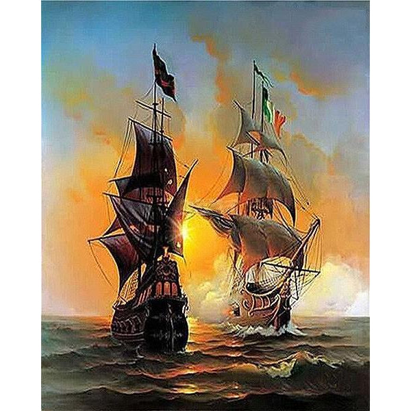 DIY Paint by Number kit for Adults on Canvas-Ships on the Ivory Coast-40x50cm (16x20inches)