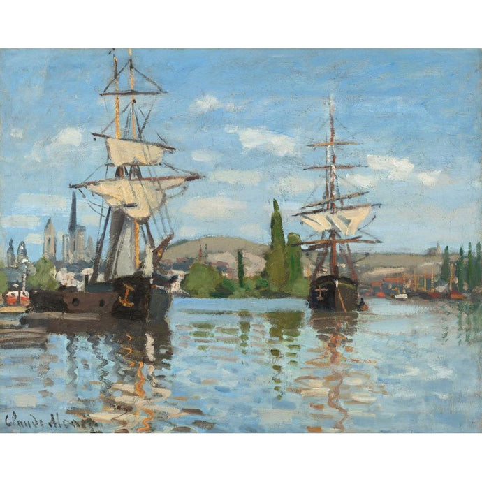 DIY Paint by Number kit for Adults on Canvas-Ships Riding on the Seine at Rouen - Claude Monet - 1872-1873-