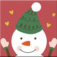 DIY Paint by Number kit for Adults on Canvas-Snowman Pal - [Tiny Print]-20x20cm (8x8inches)