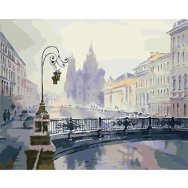 DIY Paint by Number kit for Adults on Canvas-Snowy Bridge-40x50cm (16x20inches)