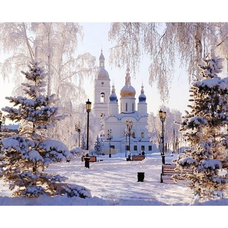 DIY Paint by Number kit for Adults on Canvas-Snowy Palace Castle-40x50cm (16x20inches)