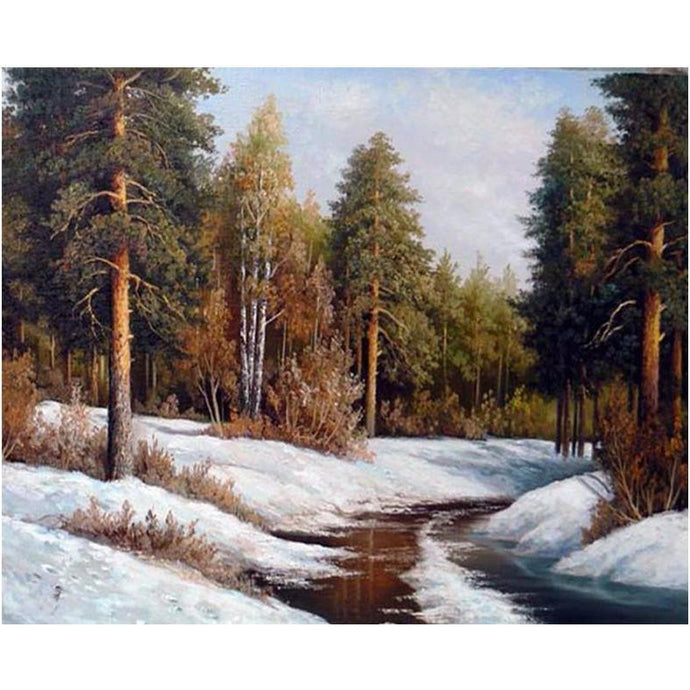 DIY Paint by Number kit for Adults on Canvas-Snowy Riverbank-40x50cm (16x20inches)