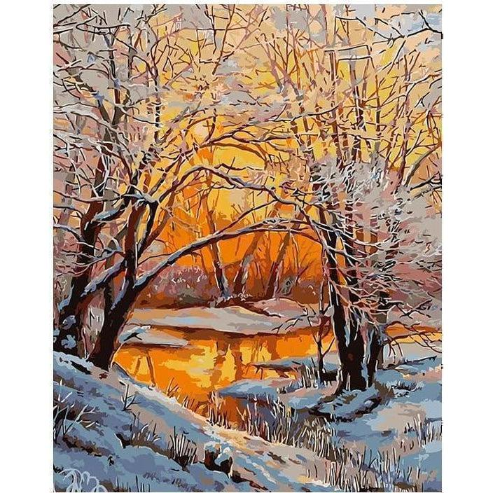 Snowy Riverbank - Paint by Numbers Kit