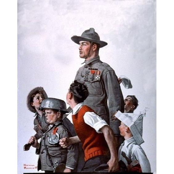 DIY Paint by Number kit for Adults on Canvas-Soldier and Comrades - Norman Rockwell - 1919-Home
