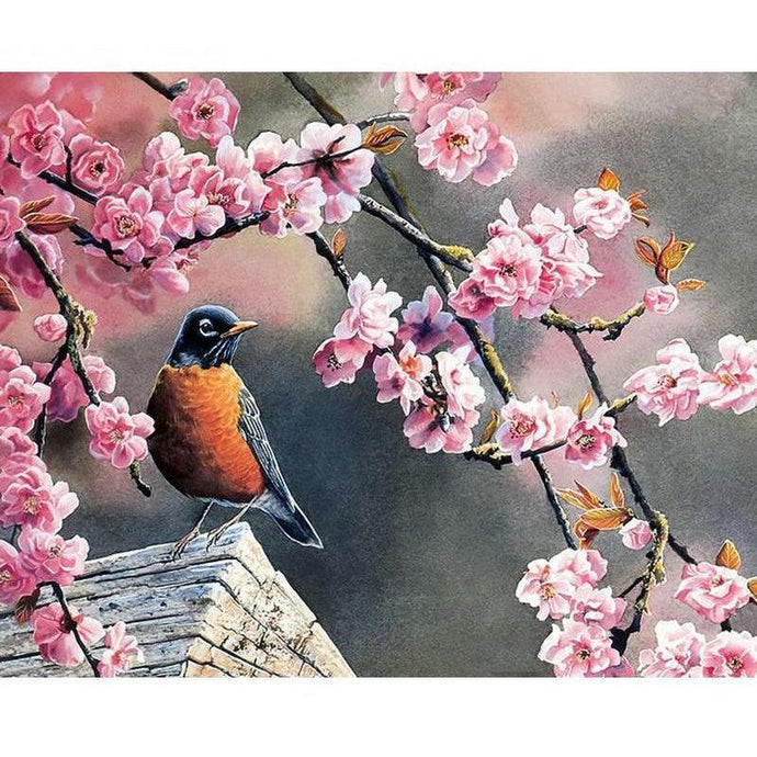 DIY Paint by Number kit for Adults on Canvas-Spring Bird-40x50cm (16x20inches)