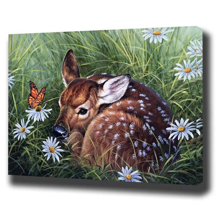DIY Paint by Number kit for Adults on Canvas-Spring Fawn-40x50cm (16x20inches)