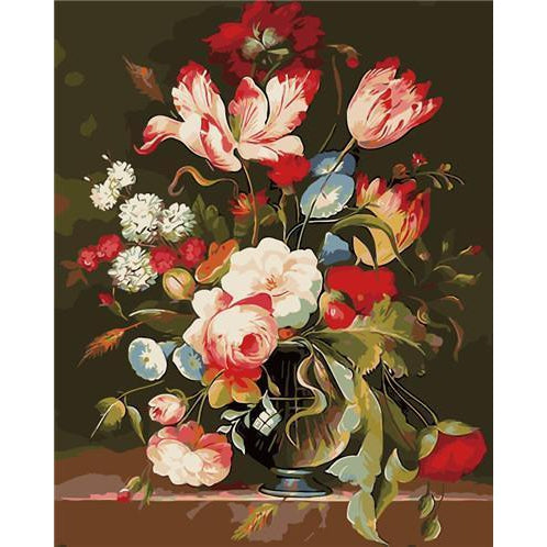 DIY Paint by Number kit for Adults on Canvas-Spring Flower Vase-40x50cm (16x20inches)