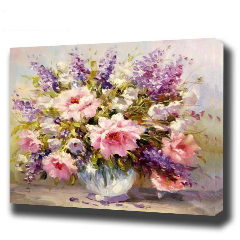 DIY Paint by Number kit for Adults on Canvas-Spring Flowers-40x50cm (16x20inches)