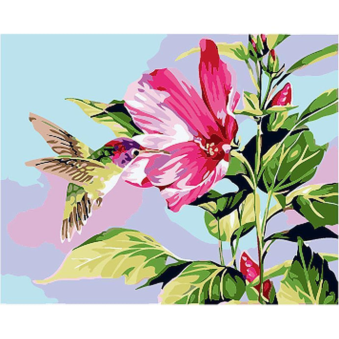 DIY Paint by Number kit for Adults on Canvas-Spring Humming Bird-40x50cm (16x20inches)