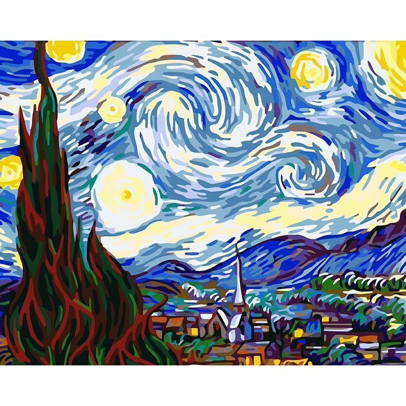 DIY Paint by Number kit for Adults on Canvas-Starry Night - Van Gogh-Clean PBN