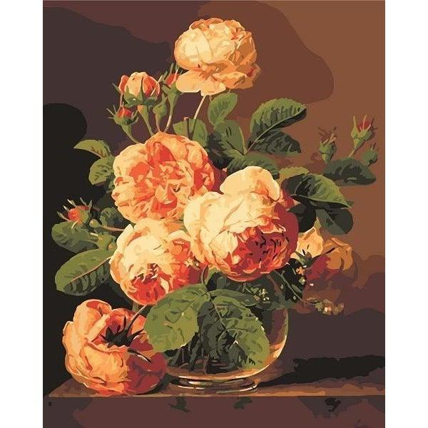 DIY Paint by Number kit for Adults on Canvas-Still Life Of Roses In A Glass Vase - Jan Frans van Dael-Clean PBN