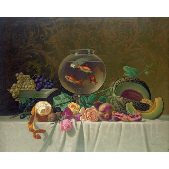 DIY Paint by Number kit for Adults on Canvas-Still Life With Goldfish - Milne Ramsey - 1873-Clean PBN