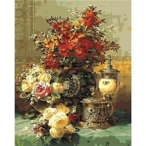 DIY Paint by Number kit for Adults on Canvas-Still Life with Roses and Flowers - Jean Baptiste Robie-Clean PBN