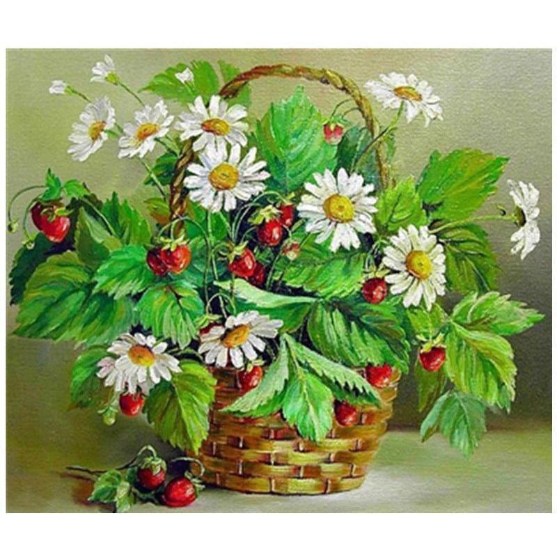 DIY Paint by Number kit for Adults on Canvas-Strawberries and Daisies Basket-40x50cm (16x20inches)