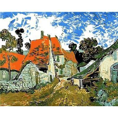 DIY Paint by Number kit for Adults on Canvas-Street in Auvers - Van Gogh - 1890-Clean PBN