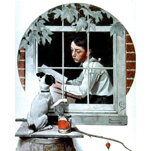 DIY Paint by Number kit for Adults on Canvas-Stuck Inside - Norman Rockwell - 1922-Home