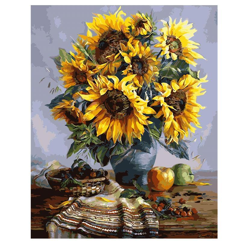 DIY Paint by Number kit for Adults on Canvas-SunFlower Bouquet-40x50cm (16x20inches)