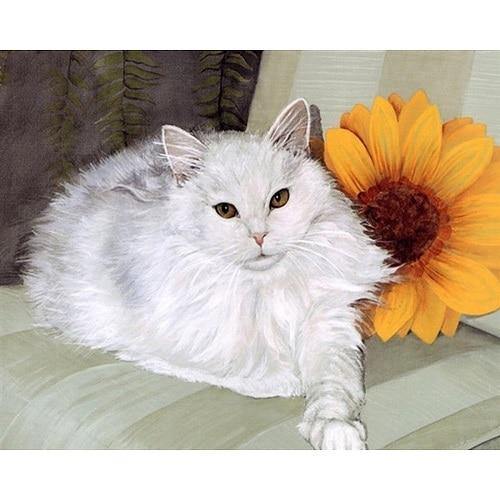 DIY Paint by Number kit for Adults on Canvas-Sunflower Cat-Painting & Calligraphy