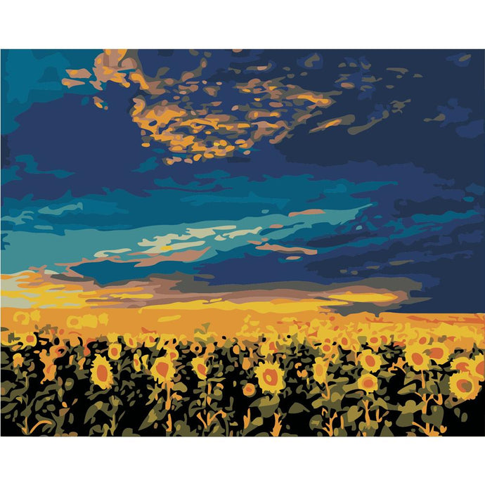DIY Paint by Number kit for Adults on Canvas-Sunflower Dusk-40x50cm (16x20inches)