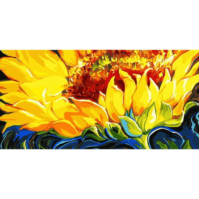 DIY Paint by Number kit for Adults on Canvas-Sunflower [EXTRA Large Print]-50x100cm (20x40inches)