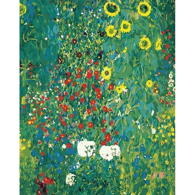 DIY Paint by Number kit for Adults on Canvas-Sunflower Park - Gustav Klimt-Clean PBN